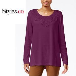 Style & Co. Petite Lace-Applique Top